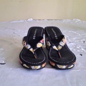 Black flowered Rampage wedge sandals